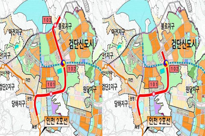 인천시는 '인천도시철도 2호선 검단 연장사업'의 사업계획 변경안을 확정하고 국토교통부에 예비타당성조사 사업계획 변경을 요청했다./사진=인천시 캡처