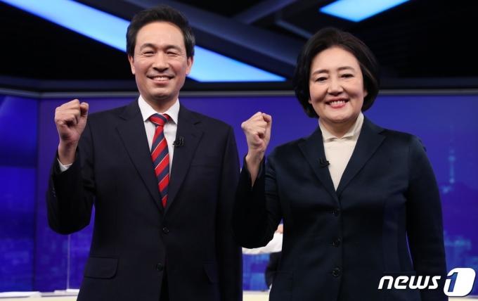 박영선(오른쪽), 우상호 더불어민주당 서울시장 예비후보 2021.2.25/뉴스1 © News1 국회사진취재단