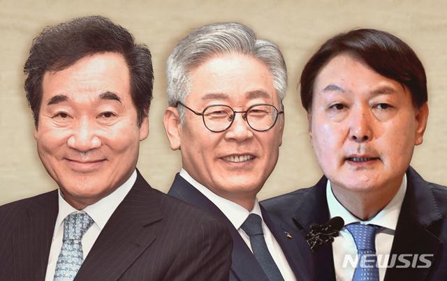 이낙연 더불어민주당 대표(왼쪽부터), 이재명 경기지사, 윤석열 검찰총장. / 사진=뉴시스
