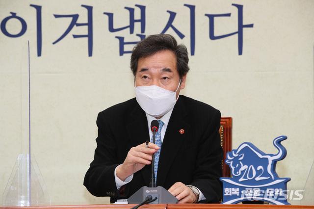 이낙연 더불어민주당 대표가 지난 28일 오후 서울 여의도 국회에서 열린 고위 당정청 협의회에서 발언하고 있다./사진=뉴시스