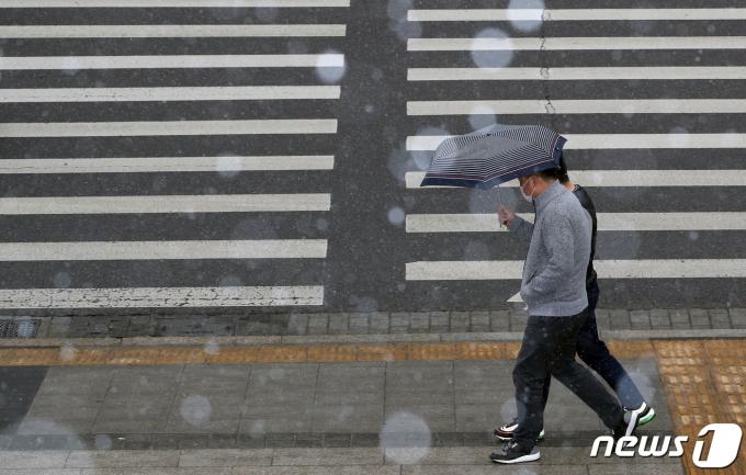 29일 오후 서울 종로구 광화문광장 일대에 진눈깨비가 날리고 있다. 2020.12.29/뉴스1 © News1 송원영 기자