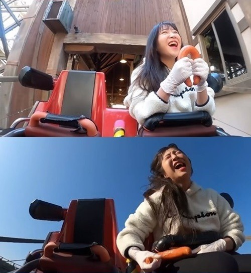 유튜버 쯔양이 놀이기구를 타며 먹방을 진행해 논란에 휩싸였다. /사진=쯔양 유튜브