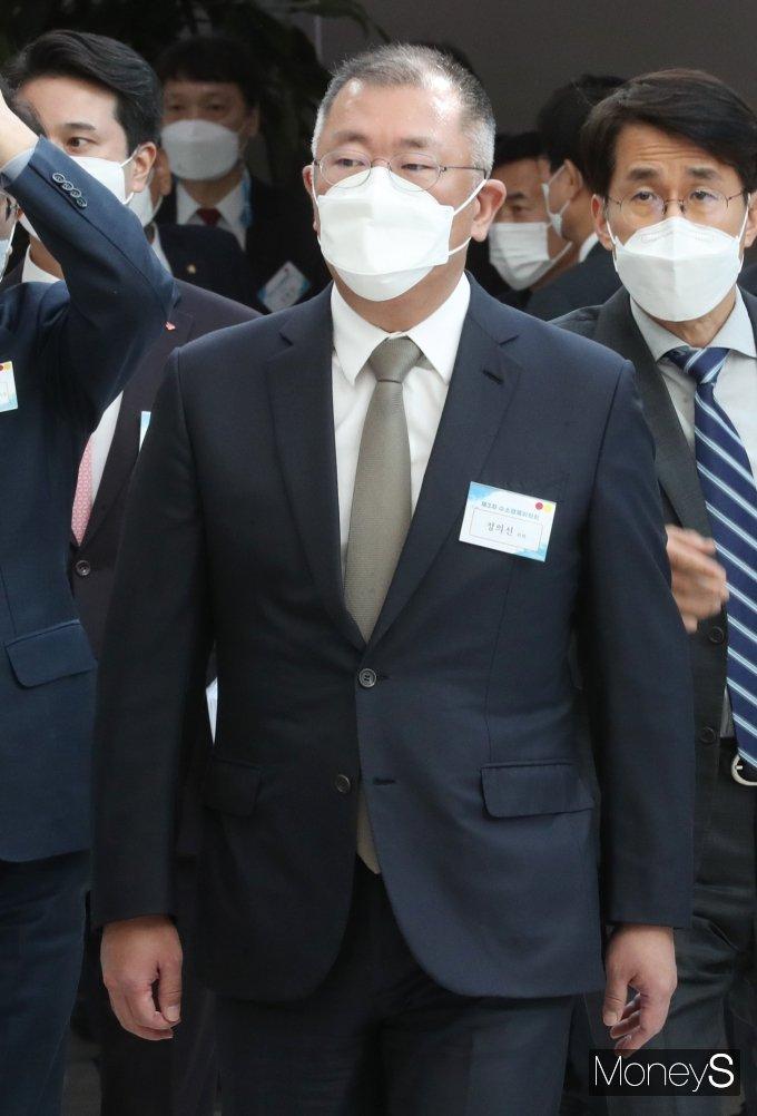 [머니S포토] 정의선 회장, 제3차 수소경제위원회 참석
