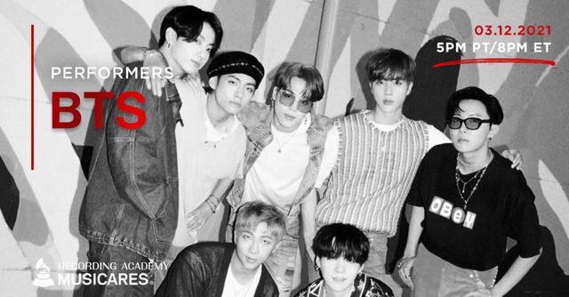 방탄소년단이 미국의 권위 있는 음악 시상식 '그래미 어워즈' 주간 열리는 온라인 자선 공연에 출연한다. /사진=뮤직케어스(MusiCares) 공식 SNS