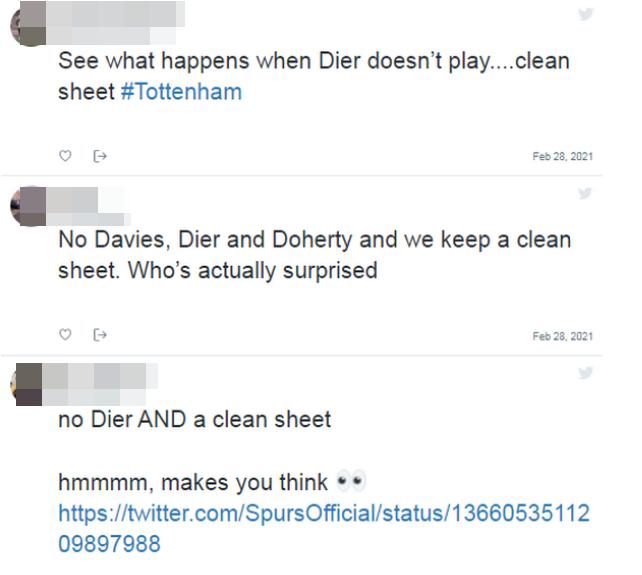 토트넘 홋스퍼 팬들은 '무실점을 위해서는 에릭 다이어를 출전 명단에서 제외해야 한다'고 주장한다. /사진=풋볼 런던 보도화면 캡처(트위터 캡처)