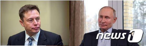 일론 머스크 테슬라 CEO(왼쪽)와 블라디미르 푸틴 러시아 대통령. © AFP=뉴스1