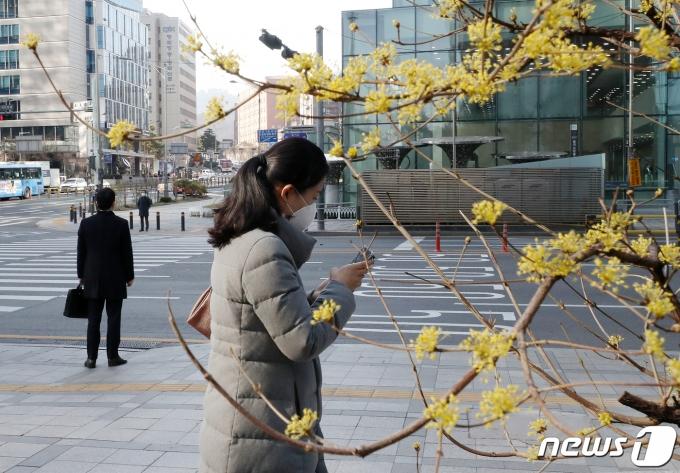 꽃샘추위가 기승을 부린 지난해 3월16일 오전 서울 을지로 입구에서 두터운 옷을 입은 시민들이 출근하고 있다.. 2020.3.16/뉴스1 © News1 김진환 기자