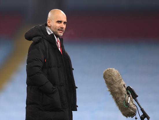 펩 과르디올라 맨체스터 시티 감독이 3일(한국시간) 영국 맨체스터의 이티하드 스타디움에서 열린 2020-2021 잉글랜드 프리미어리그 27라운드 울버햄튼 원더러스전이 끝난 뒤 진행된 인터뷰에서 발언하고 있다. /사진=로이터