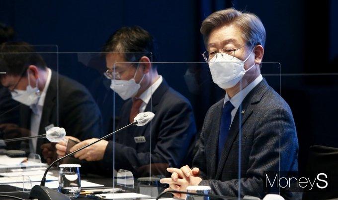 """[머니S포토] 이재명 경기지사 """"기본주택, 경제 선순환을 위한 정책"""""""
