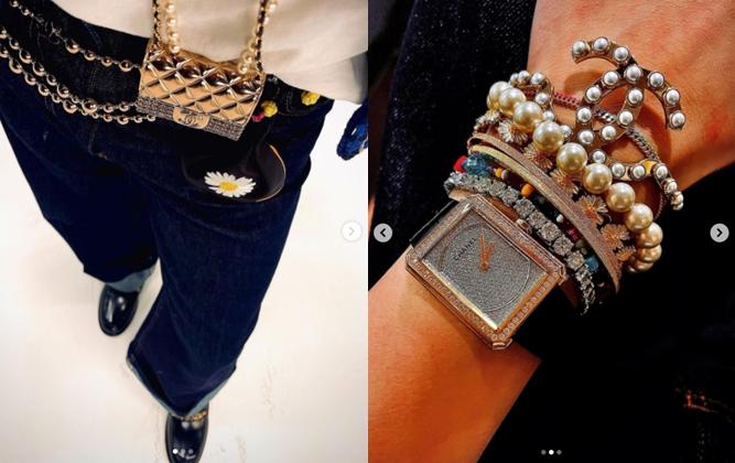 지드래곤이 인스타그램에 올린 샤넬 미니백, 팔찌, 시계 착용 사진. /사진=지드래곤 인스타그램