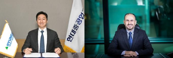 정기선 현대중공업그룹 부사장(왼쪽)과 사우디아라비아 아람코의 아흐마드 알 사디 수석부사장(오른쪽)은 3일 수소·암모니아 관련 MOU를 체결했다. /사진=현대중공업그룹