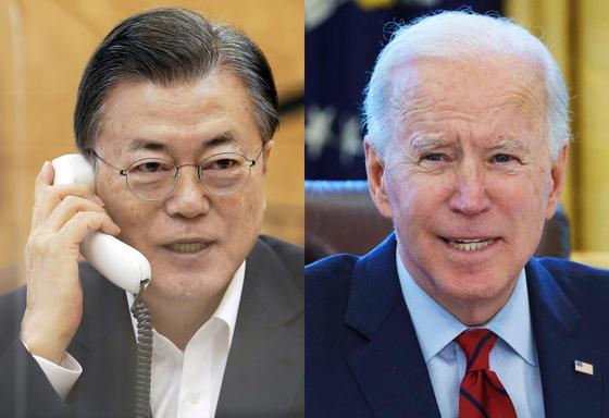 문재인 대통령(왼쪽)이 지난달 4일 청와대에서 조 바이든 미국 대통령과 통화를 하고 있다. /사진=뉴스1