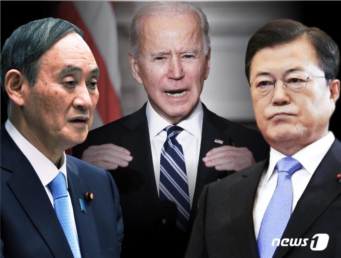 스가 요시히데 일본 총리, 조 바이든 미국 대통령, 문재인 대통령.© News1 김일환 디자이너