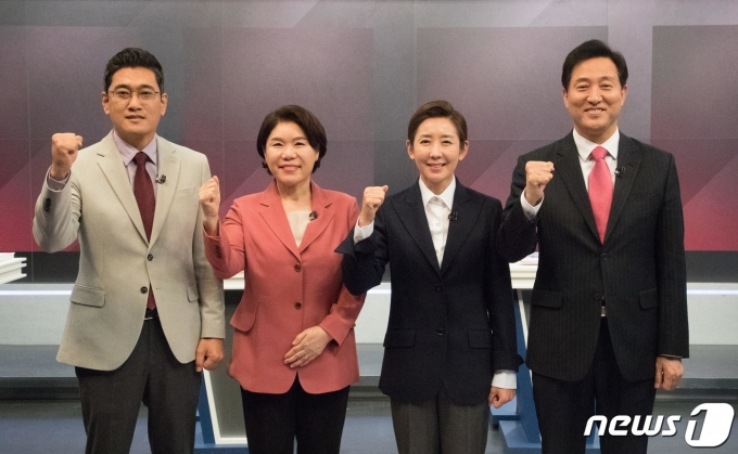 오신환(왼쪽부터), 조은희, 나경원, 오세훈 국민의힘 서울시장 예비후보/뉴스1 © News1 국회사진취재단