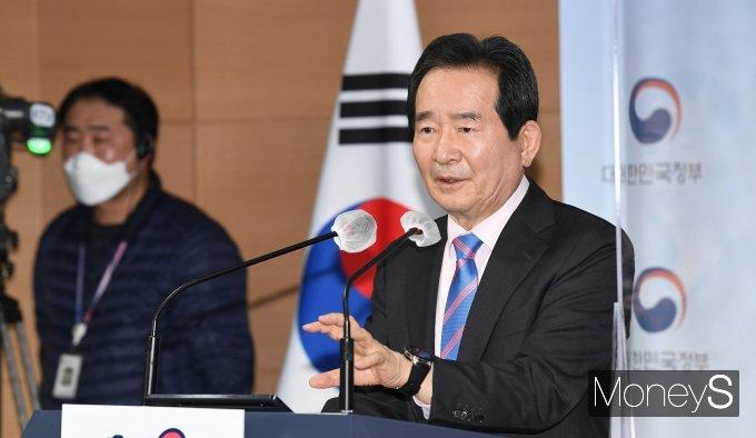 """[머니S포토] 정세균 """"윤석열 사의 대단히 유감…정치하려나 보다 느껴"""""""