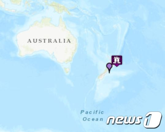 쥬질랜드 지진 발생 지역(태평양쓰나미경보센터(PAWC) 갈무리). © 뉴스1