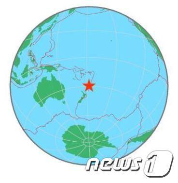 뉴질랜드 케르메덱 제도(EMSC 웹사이트 갈무리). © 뉴스1