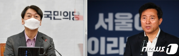 안철수 국민의당 서울시장 후보(왼쪽)와 오세훈 국민의힘 서울시장 후보© 뉴스1