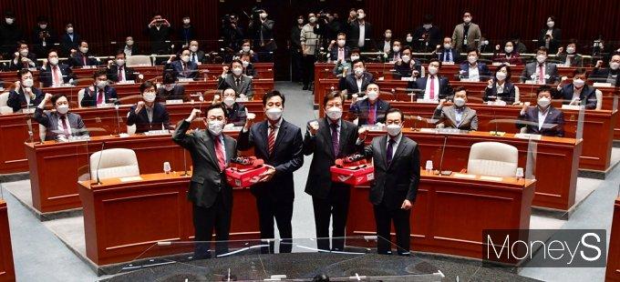 [머니S포토] 한달여 남은 4.7 보궐 선거, 국민의힘 의기투합