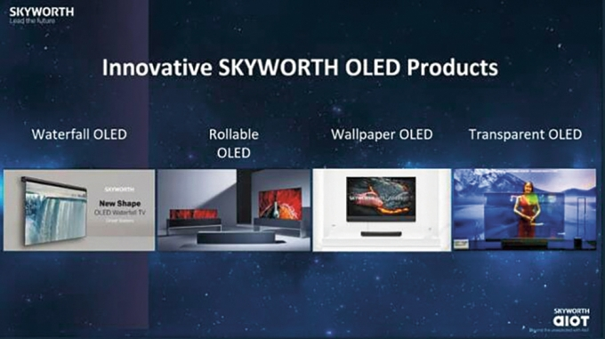 중국 스카이워스가 CES 2021 온라인 설명회에서 자사 혁신 제품을 소개하는 장면에 LG 롤러블 TV 사진이 무단도용됐다. / 사진=스카이워스 CES 영상 캡처