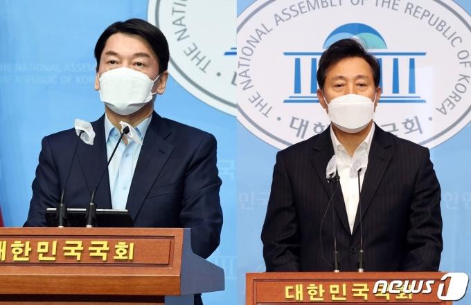 서울시장 보궐선거 후보 단일화에 나서는 안철수 국민의당 예비후보와 오세훈 국민의힘 예비후보. © 뉴스1