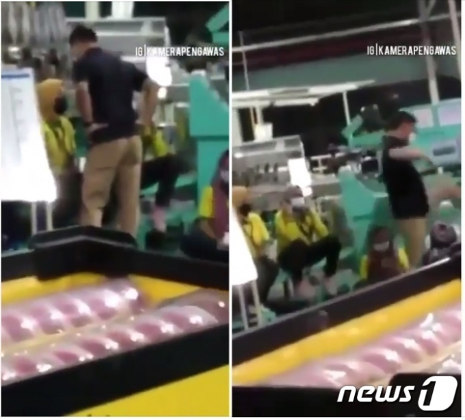 인도네시아 태광실업 신발공장에서 한국인 남성이 현지 여직원들에게 발길질을 하는 영상이 사회관계망을 통해 확산하며 논란이 되고 있다. 사진은 페이스북 게시물 갈무리.