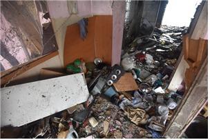 6일 오전 7시45분쯤 서울 성북구 정릉동 소재 임대아파트 6층에서 가스폭발로 추정되는 화재가 발생했다. © 뉴스1(성북소방서 제공)