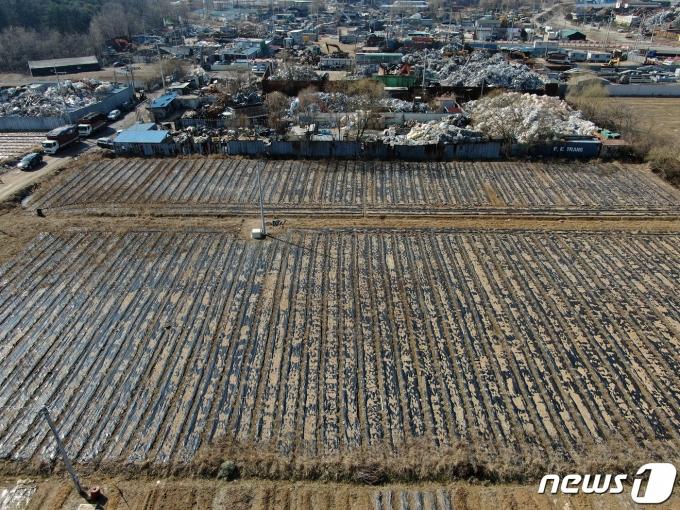 5일 오후 LH 직원들이 사들인 경기도 시흥시 과림동 소재 농지의 모습. 2021.3.5/뉴스1 © News1 이승배 기자