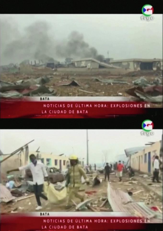 아프리카 중서부 적도기니의 군 막사에서 연쇄 폭발이 발생해 최소 20명이 사망했다. 사진은 적도기니 국영 텔레비전 TVGE의 보도 영상 화면/사진=로이터