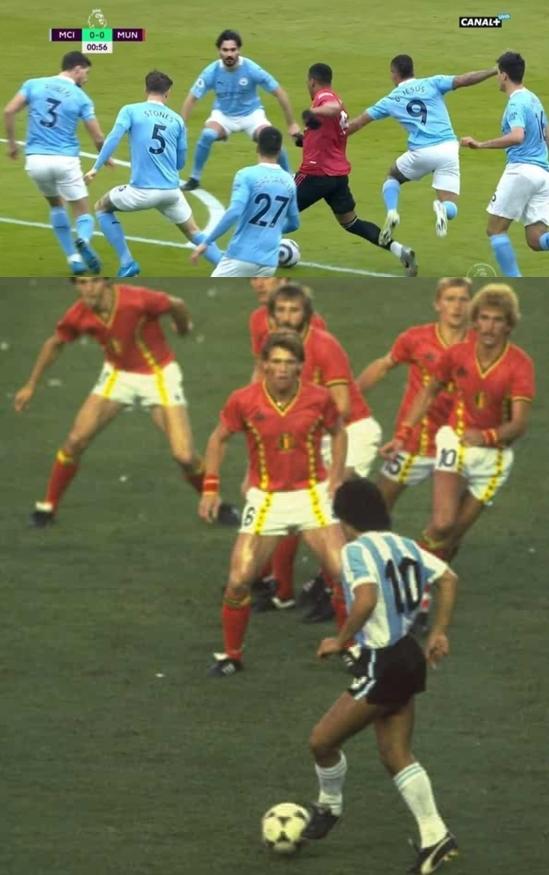 맨체스터 유나이티드 공격수 앙토니 마샬(위 사진 오른쪽 3번째)이 8일(한국시간) 영국 맨체스터의 이티하드 스타디움에서 열린 2020-2021 잉글랜드 프리미어리그 27라운드 맨체스터 시티와의 경기에서 상대 선수들을 피해 드리블하고 있다. 아래사진은 지난 1986년 멕시코 FIFA 월드컵 당시 4강에서 벨기에 선수들을 마주한 디에고 마라도나. /사진=트위터 캡처