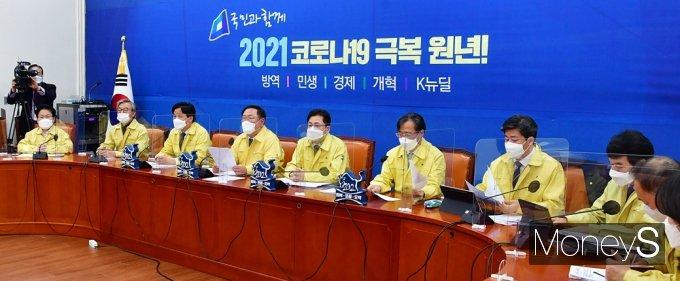 [머니S포토] 당대표 퇴임 앞둔 '이낙연' 민주당 김태년 대행체제 준비