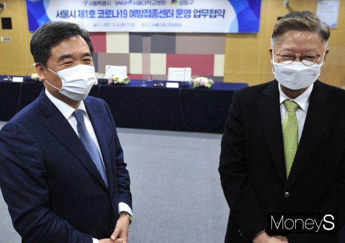 [머니S포토] 코로나19 백신 예방접종센터 운영 협약식서 만난 서정협·김연수