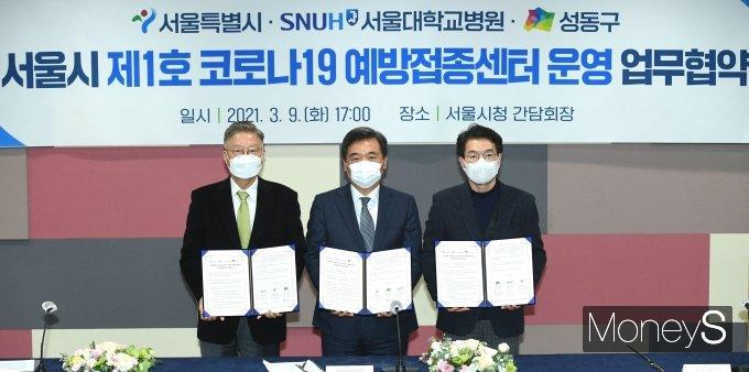 [머니S포토] '서울시 제1호 코로나19 백신 예방접종센터 운영협약'