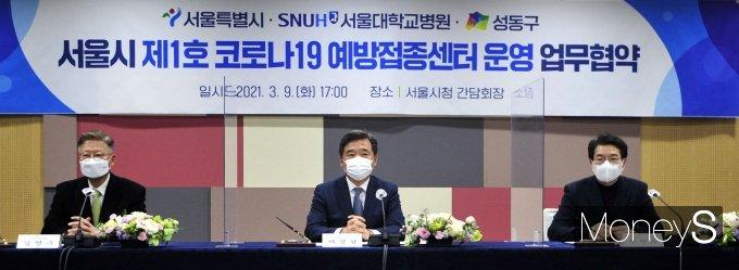 [머니S포토] 서정협 권한대행 '코로나19 백신 예방접종센터 운영협약을 위해'