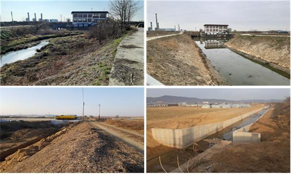 배수개선사업 전(위·아래 왼쪽)과 후(위·아래 오른쪽). / 사진제공=경기도