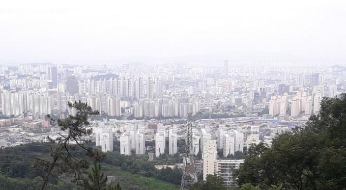 지난해 광주지역 건축물 가운데 아파트 면적 비율은 75.1%로 세종 다음으로 두번째로 높았다..광주광역시 북구 두암지구 아파트 단지/사진=머니S DB.