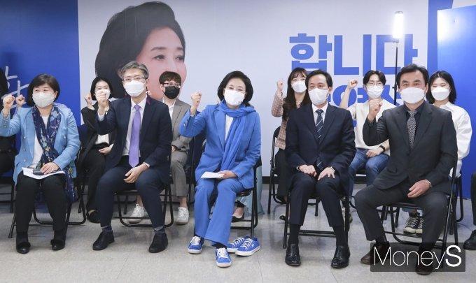 [머니S포토] 힘찬 각오로 시작 '합니다 박영선' 선대위 출범식
