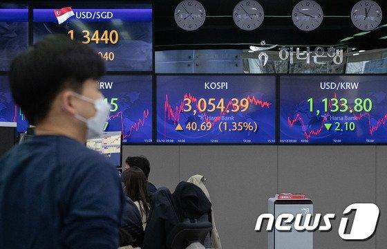 지난 12일 오후 서울 중구 하나은행 본점 딜링룸./사진=뉴스1