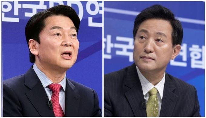 안철수(왼쪽) 국민의당 서울시장 후보는 국민의힘 측이 제안한 단일화 여론조사 방식을 수용하겠다고 밝혔다. /사진=국회사진취재단