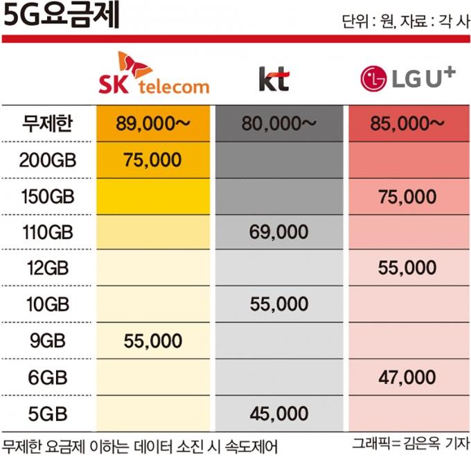 이통사가 제공하고 있는 요금제는 데이터 제공량이 10GB(기가바이트·데이터 용량 단위)대와 100GB 이상으로 양극화돼 있다. /그래픽=김은옥 기자