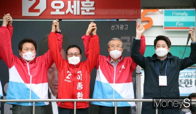 [머니S포토] 4.7 재보선, 오세훈 지지호소하는 '김종인'