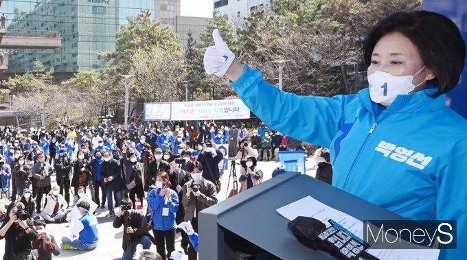 [머니S포토] 엄지척 박영선, 서울시민과 함께합니다