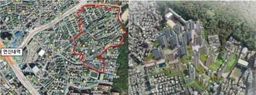 국토교통부는 '3080+ 대도시권 주택공급방안(2021년 2월4일)' 첫 선도사업 후보지로 금천구, 도봉구, 영등포구, 은평구 등 4개구,총 21곳을 선정하였다. 사진은 1차 선도사업 후보지로 선정된 서울 은평구 연신내 역세권의 위치도(좌) 및 개발조감도(우)./사진제공=서울시