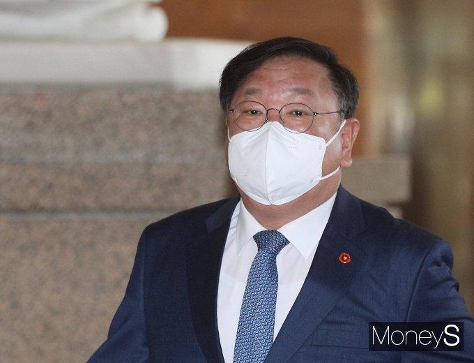 [머니S포토] 김태년 직무대행 '당 지도부 거취 논의'