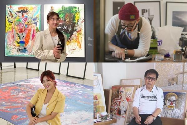 최근 연예인들이 아트테이너로서의 면모를 선보이고 있다. 사진은 하지원(왼쪽 위부터 시계방향), 구준엽, 조영남, 솔비. /사진=하지원 인스타그램, tvN, SBS, 엠에이피크루 제공