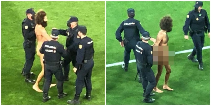 유로파리그 경기 중 나체의 남성이 그라운드에 난입하는 일이 일어났다./ 사진=트위터 캡처
