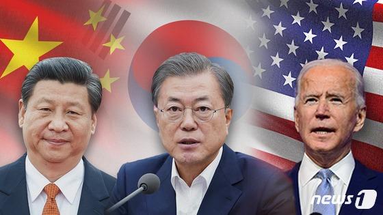 문재인 대통령, 조 바이든 미국 대통령, 시진핑 중국 국가주석의 모습. © News1 이은현 디자이너