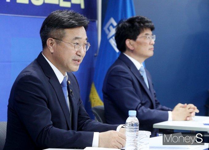 [머니S포토] 원내대표 후보 토론, 기조연설하는 윤호중 후보