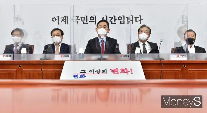 """[머니S포토] 주호영 """"국힘 관련 상임위 소집…국회 차원의 대처 방안 강구할 것"""""""