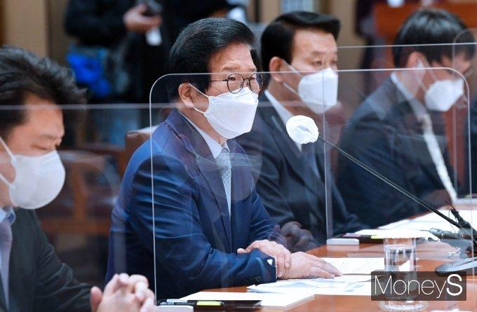 [머니S포토] 세월호 후보 특검 추천위, 인사말 전하는 박병석 의장